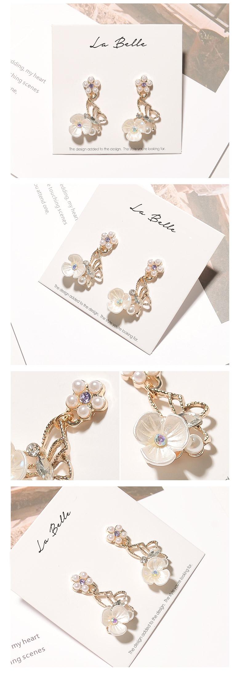 화이트 플라워 귀걸이(무니켈도금) - 라벨르, 12,000원, 진주/원석, 드롭귀걸이