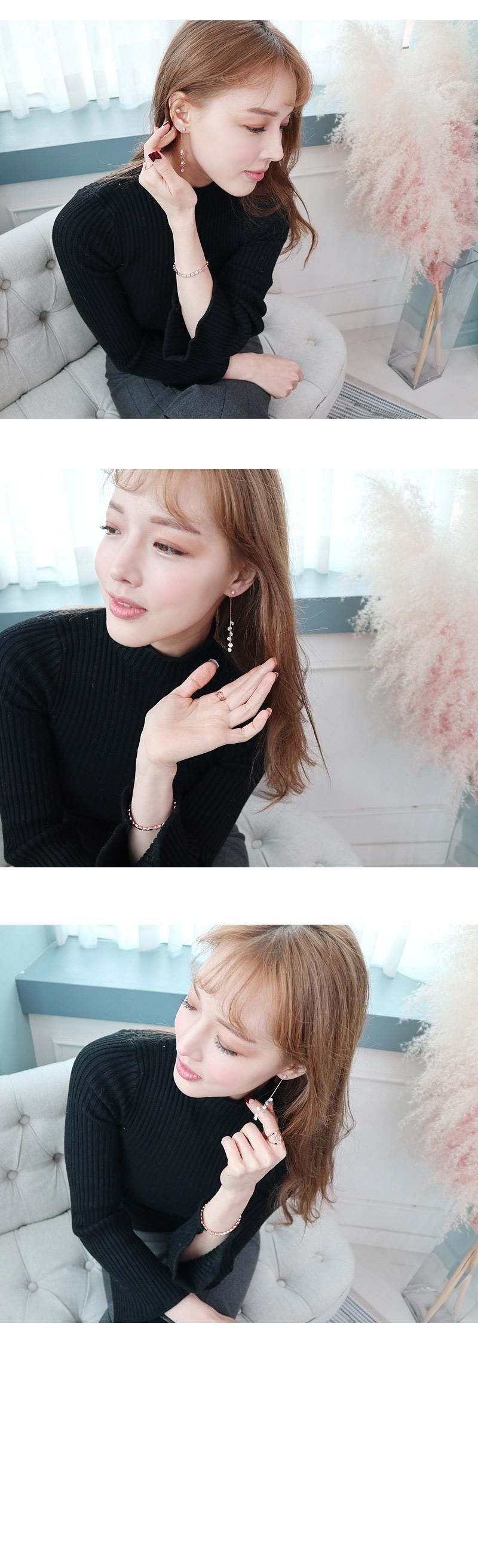 큐빅 송송이 귀걸이(925 은침) - 라벨르, 28,000원, 실버, 드롭귀걸이