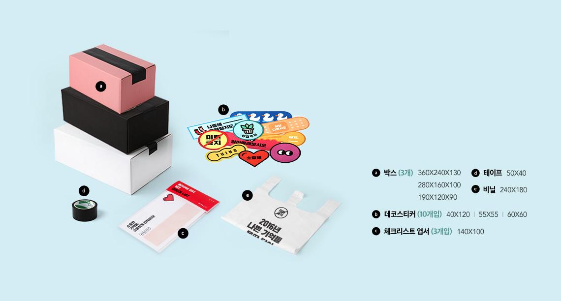 박싱데이 키트는 박스 3개, 스티커 10개, 체크리스크 엽서 3개, 테이프, 비닐팩으로 구성되어 있습니다.